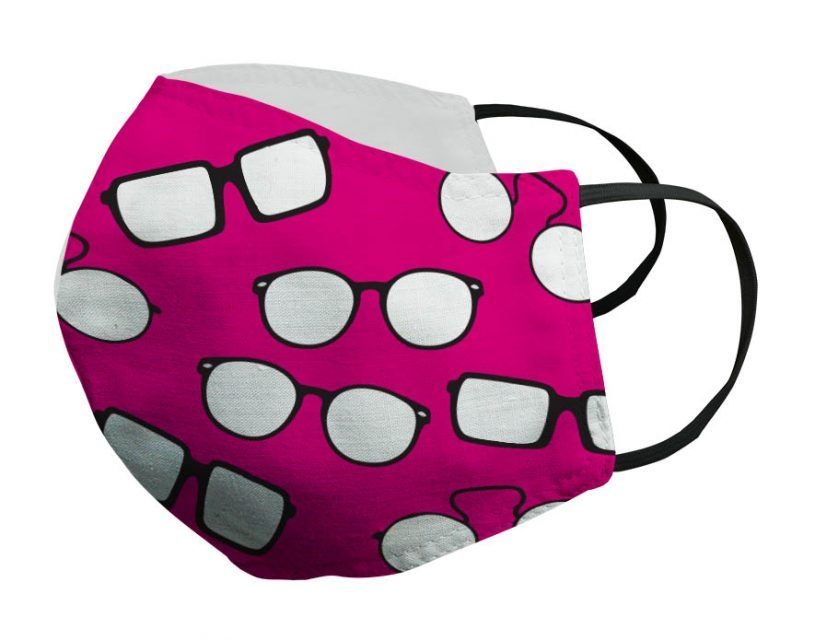 Mascarilla fucsia gafas negras Porsy