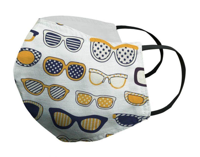 Mascarilla blanca gafas doradas Porsy