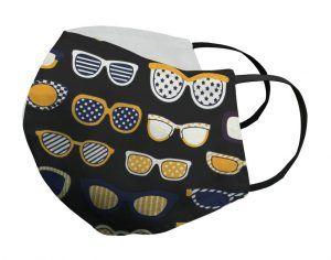 Mascarilla negras gafas doradas Porsy