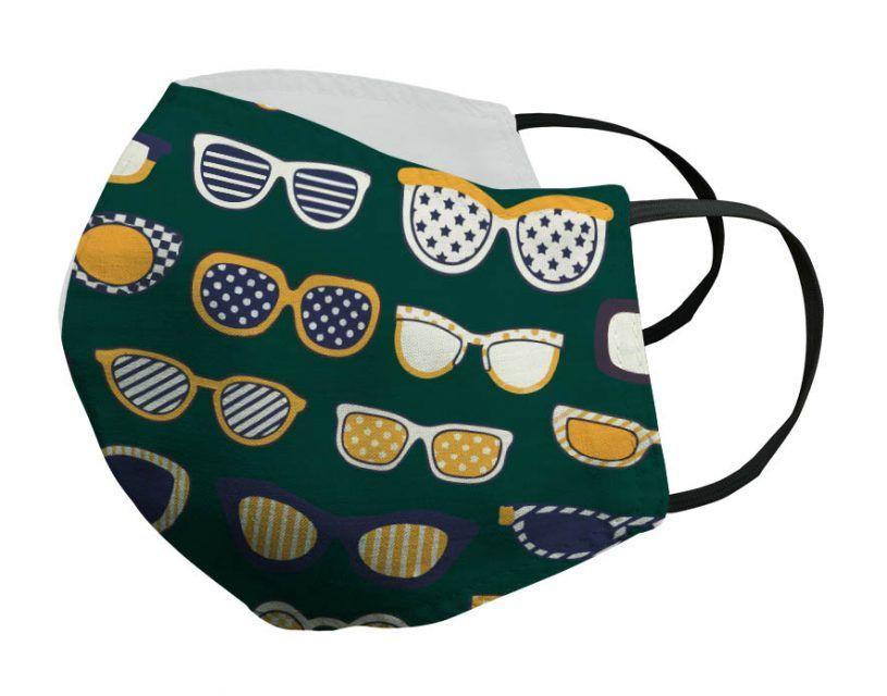 Mascarilla verde gafas doradas Porsy
